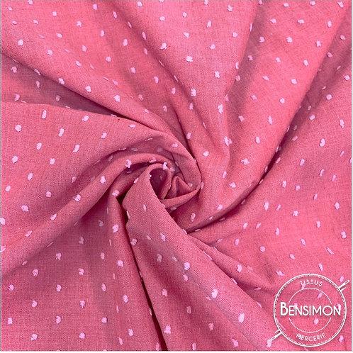 Tissu popeline coton plumetis - Corail X 50cm
