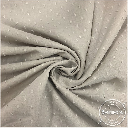 Tissu popeline coton plumetis - Beige X 50cm