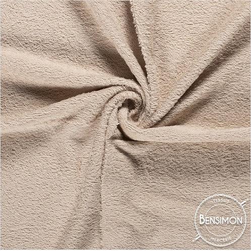 Tissu éponge coton OekoTex - Beige X 50cm