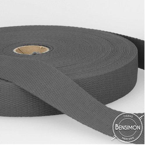 Sangle sac 100% coton 30mm gris anthracite