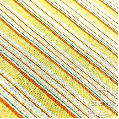 Tissu coton imprimés - Rayures jaunes X 50cm