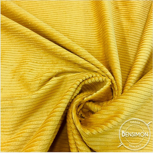 Tissu Velours côtelé 500 raies moutarde pas cher