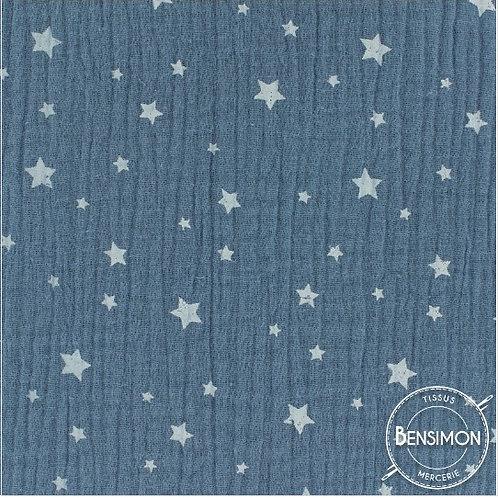 Double gaze coton étoiles - Indigo X 50cm