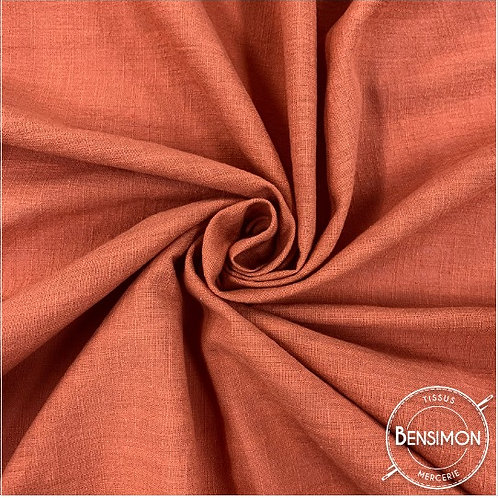 Tissu crêpe de coton uni - Terracotta X 50cm