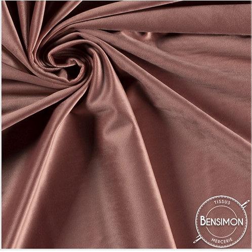 Tissu Velours ras - Vieux rose X 50cm