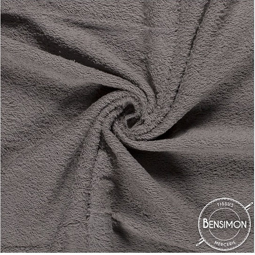 Tissu éponge coton OekoTex - Gris X 50cm
