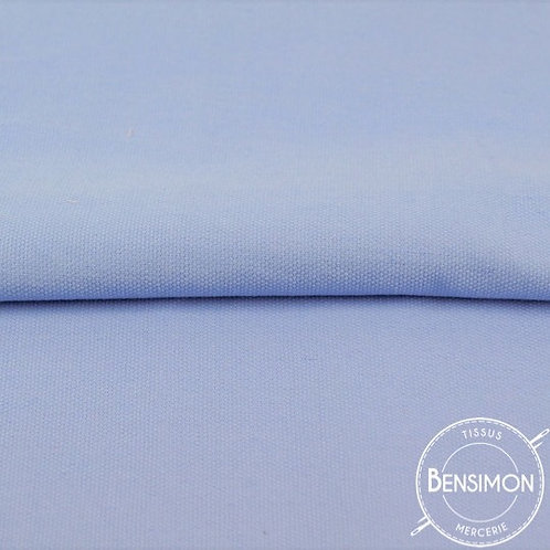 Tissu natté Gabardine Coton - Bleu Ciel X 50cm