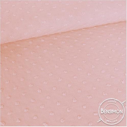 Tissu popeline coton plumetis - Rose X 50cm