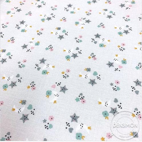 Tissu coton imprimés - Douce nuit X 50cm