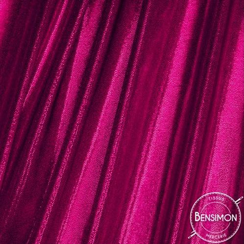 Tissu extensible Lycra stretch lamé brillant pailleté justaucorps académique fuchsia