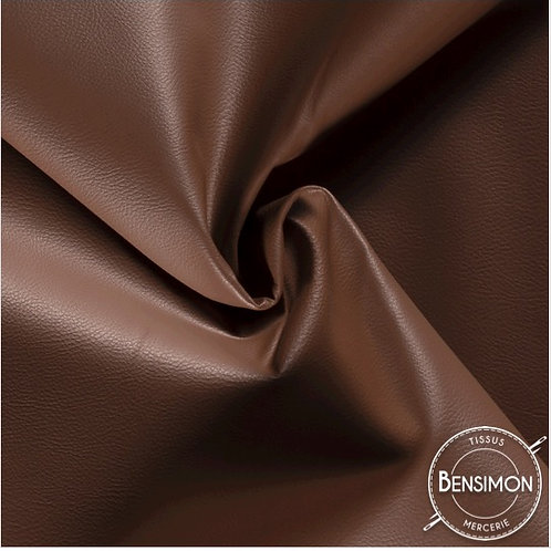 Tissu Simili Cuir Grainé - Marron X 50cm