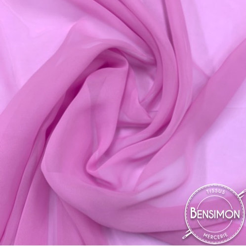 Tissu Mousseline - Rose violine X 50cm