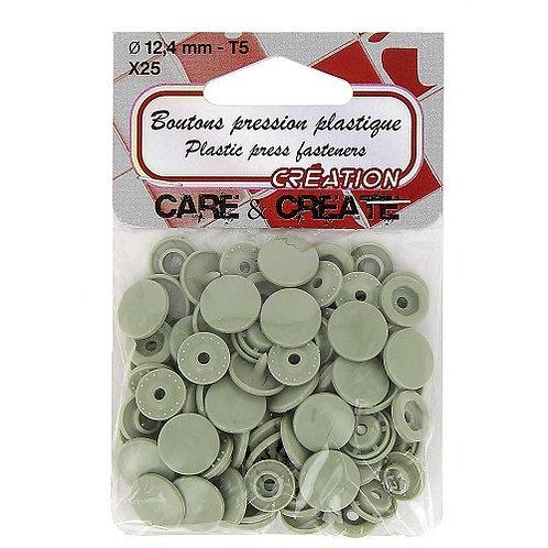 Boutons pression plastique 12,4 mm Gris X 25