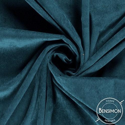 Tissu velours cotelé 1000 raies millesraies bleu pétrole