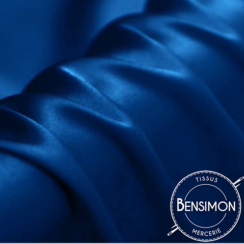 Tissu satin premium - Bleu Roy X 50cm