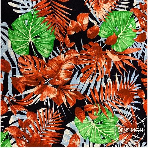 Tissu coton viscose imprimée - Feuillages Monstera X 50cm