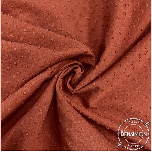 Tissu popeline coton plumetis - Terracotta X 50cm