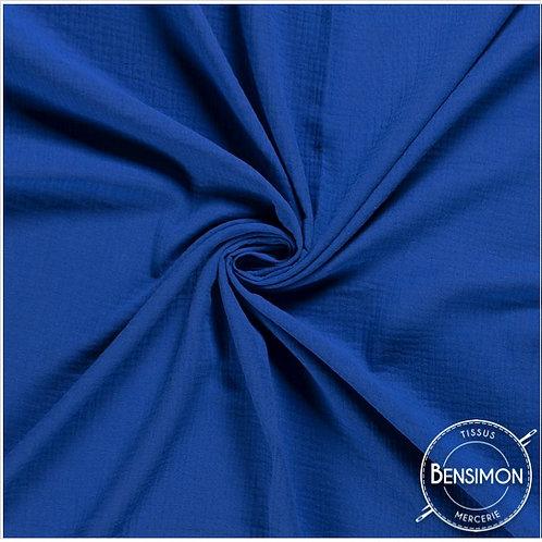 Double gaze coton OekoTex  - Bleu roi X 50cm