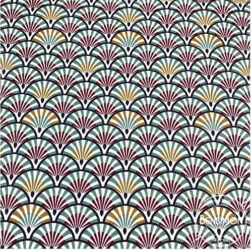 Tissu coton imprimés enduit - Eventail prune X 50cm