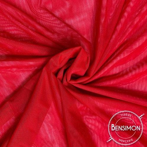Tissu Tulle élasthanne résille - Rouge X 1M