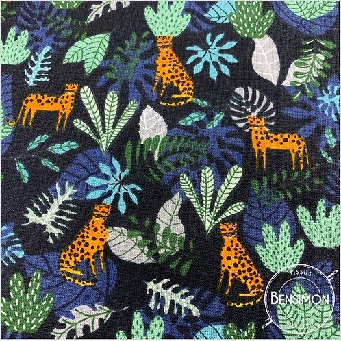 Tissu coton imprimés - Simba Jungle bleu X 50cm