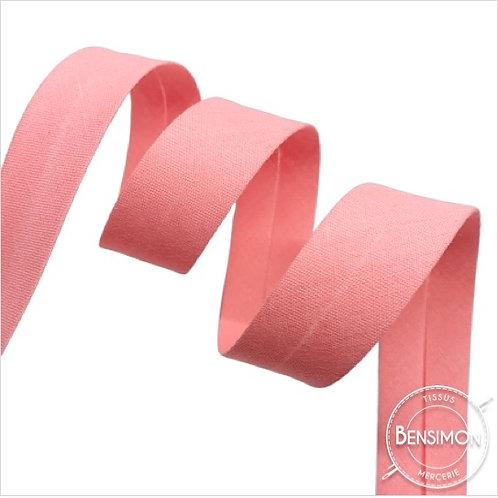 Biais coton replié 20mm - Rose n°1065