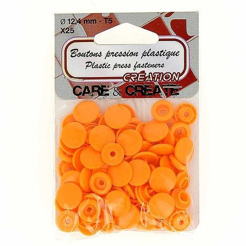 Boutons pression plastique 12,4 mm Orange X 25