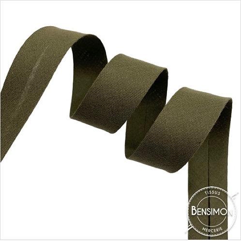Biais coton replié 20mm - Kaki n°1236