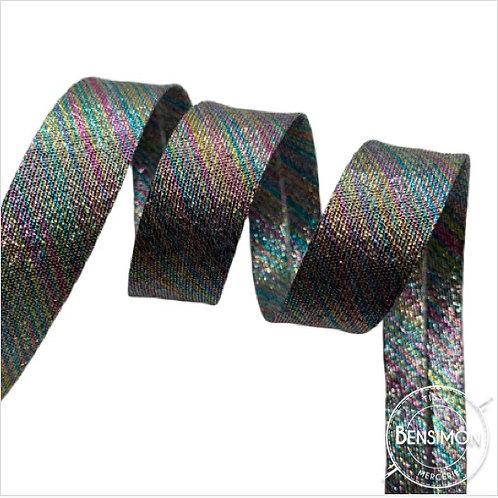 Biais lamé replié 18mm - Lurex multicolor