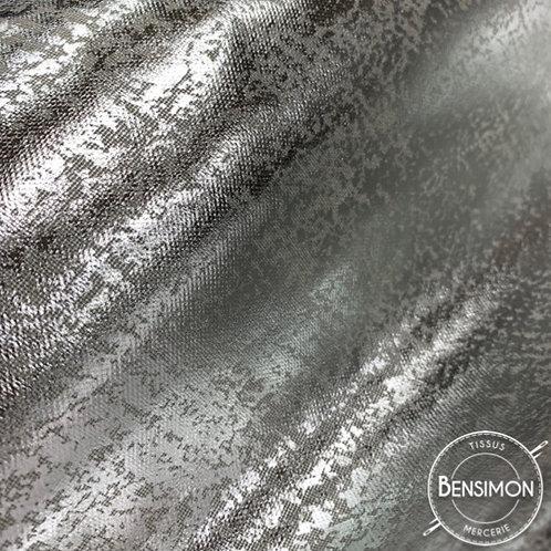tissu natté toile polycoton enduit argent silver 75% coton