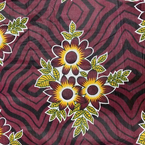 Tissu imprimé WAX - Motifs fleurs bordeaux  X 1M