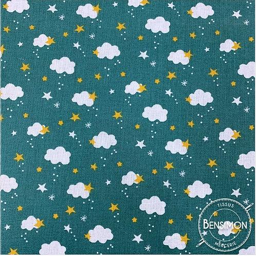 Tissu coton imprimés - Céleste eucalyptus X 50cm