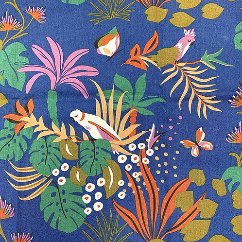 Tissu coton imprimés -  Exotic Bird bleu roi X 50cm