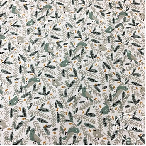 Tissu coton imprimés - Colibri feuilles céladon noisette X 50cm