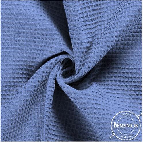 Tissu éponge nid abeille OekoTex - Bleu gris X 50cm