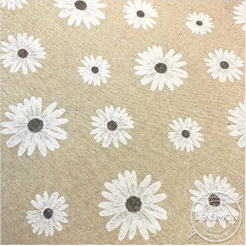 Tissu natté 100% coton 2m80 - Naturel Flowers X 50cm