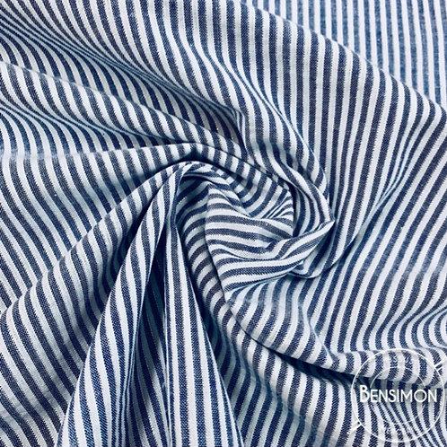Tissu coton Seersucker Lurex - Bleu moyen X 50cm