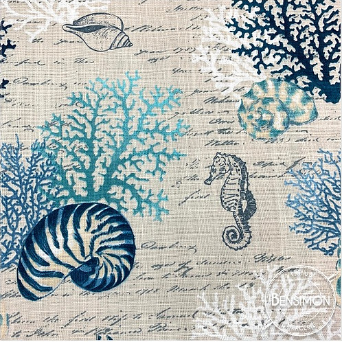 Tissu toile coton Ardèche - Coraux & hippocampe  X 50cm