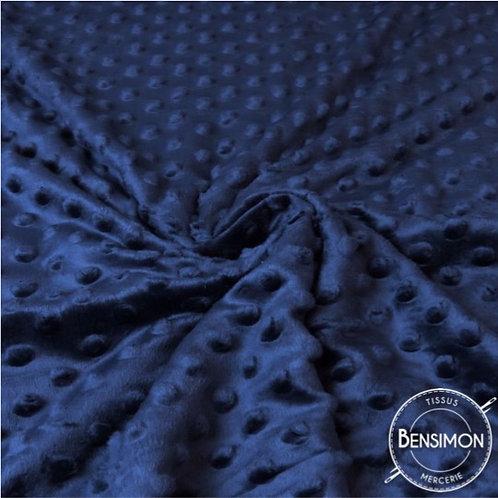Tissu Minky à Pois - Bleu Marine X 50cm