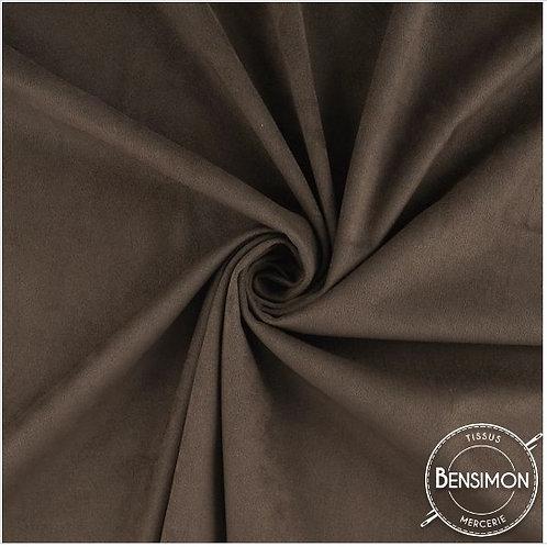 Tissu Suédine épaisse unie - Marron X 50cm