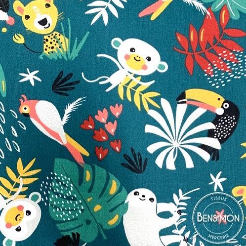 Tissu coton imprimés - Jungle animaux X 50cm