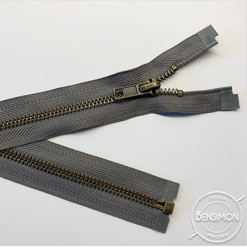 Fermeture métal 5mm séparable - Gris