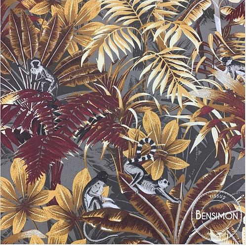 Tissu coton satin imprimés - Feuillage Chita bordeaux X 50cm
