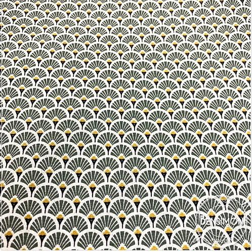 Tissu coton imprimés - Eventails kaki X 50cm