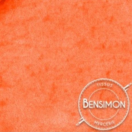 Tissu Panne de Velours - Orange Fluo X 50cm