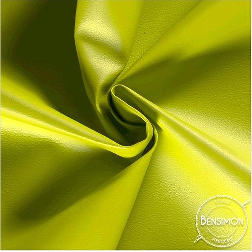 Tissu Simili Cuir Grainé - Vert anis X 50cm