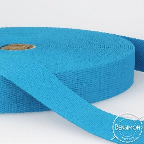 Sangle 100% coton 30mm turquoise
