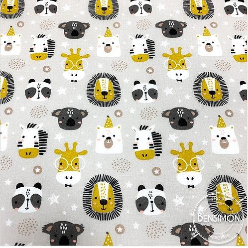 Tissu coton imprimés - Z'animaux zoo moutarde X 50cm