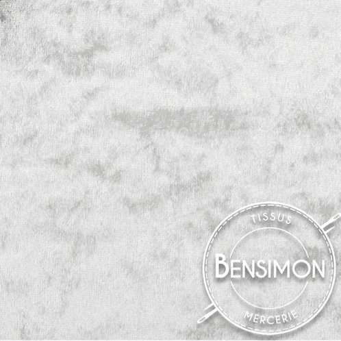 Tissu Panne de Velours - Perle X 50cm