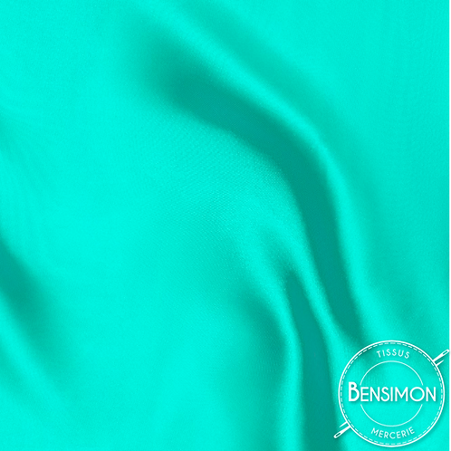 Tissu satin uni léger - Vert Tiffany X 50cm